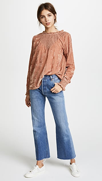 Love Sam Smocked Velvet Blouse