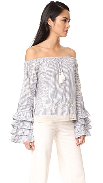 Love Sam Off the Shoulder Ruffle Sleeve Blouse