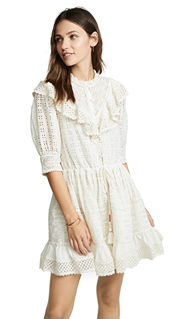 Love Sam Flower Trails Eyelet Mini Dress