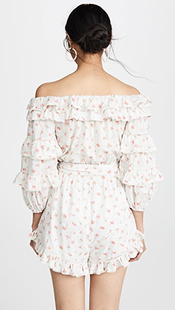 Love Sam Posie Floral Lace Off the Shoulder Romper