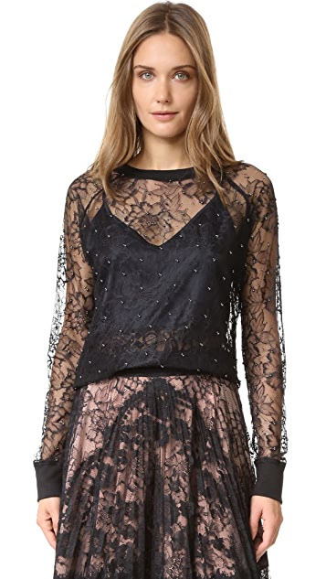 Loyd/Ford Lace Sweatshirt Top with Imitation Pearls