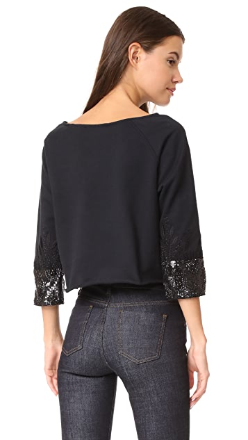 Loyd/Ford Crop Beaded Cuff Sweater