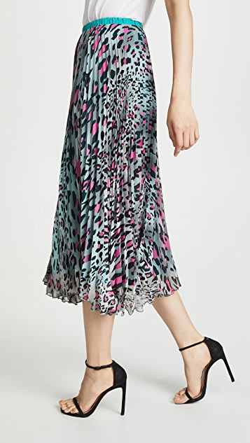 Loyd/Ford Pleated Leopard Skirt