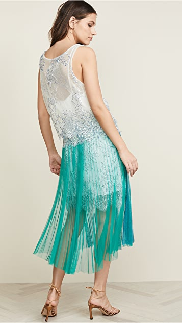 Loyd/Ford Corded Lace Dress w/ Pleated Skirt