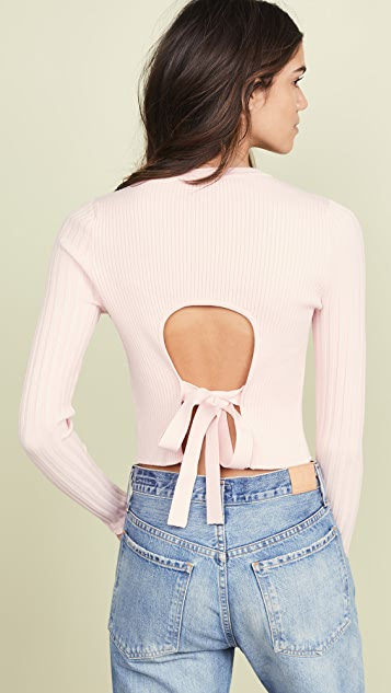 LIVE THE PROCESS Cropped Open Back Sweater