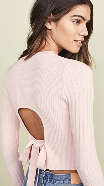 LIVE THE PROCESS Cropped Open Back Sweater - Rose Shadow