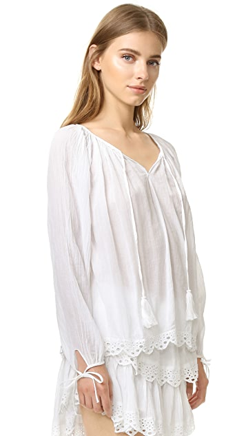 LOVESHACKFANCY Stacey Peasant Blouse
