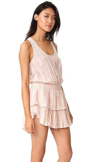 LOVESHACKFANCY Metallic Stripe Ruffle Racer Mini Dress