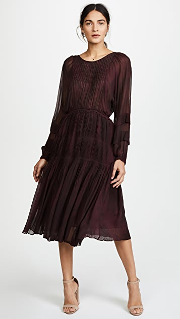 LOVESHACKFANCY Pleated Noelle Midi Dress