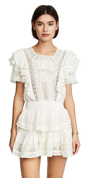 LoveShackFancy Stella Dress - Antique White