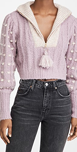 LoveShackFancy - Jonae Cropped Mock Zip Up Sweater