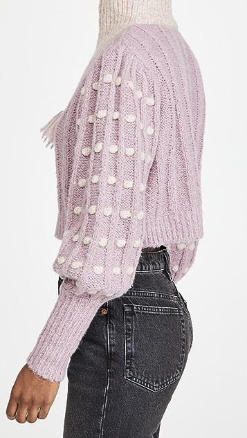 LoveShackFancy Jonae 短款半长拉链毛衣