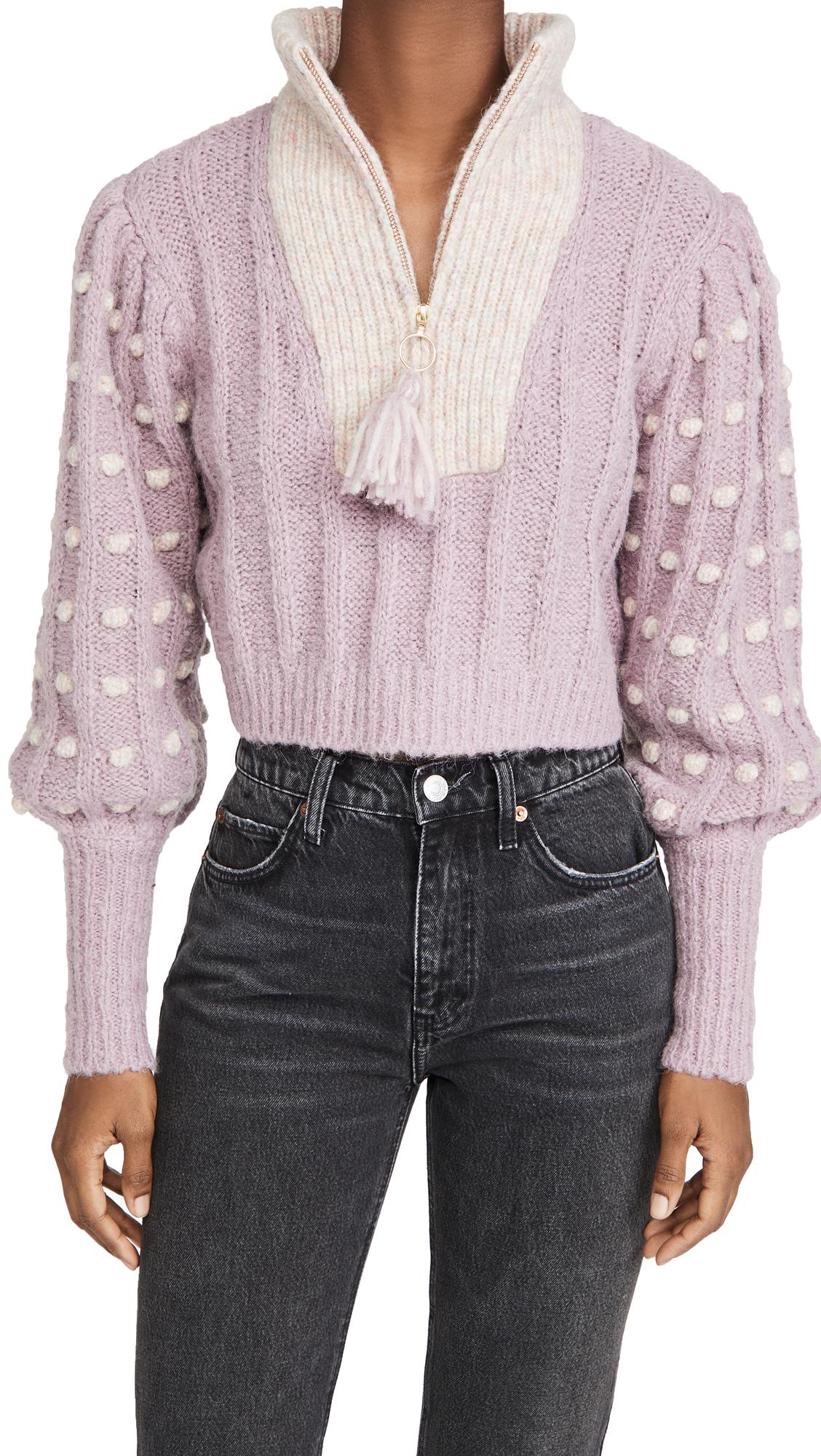 LOVESHACKFANCY Jonae Cropped Mock Zip Up Sweater