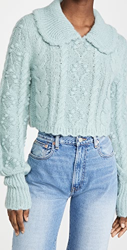 LoveShackFancy - Berget Cropped Collared Sweater