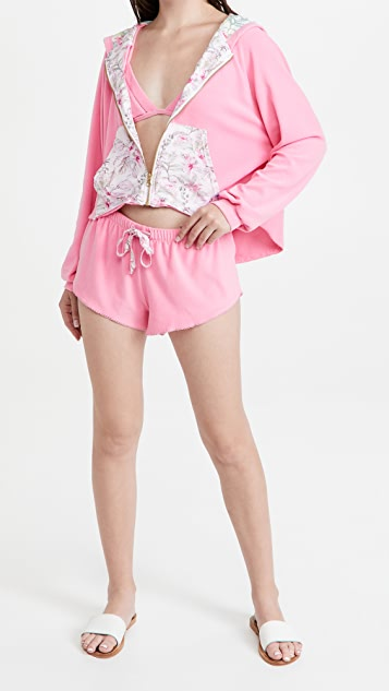 LoveShackFancy x Hurley Hawaiian Hibiscus 毛圈布拉链连帽上衣