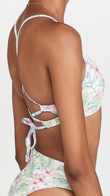LoveShackFancy x Hurley Hawaiian Hibiscus Adjustable Twist Front Bikini Top
