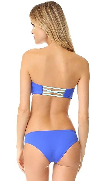 L*Space Color Block Jacques Bandeau Bikini Top