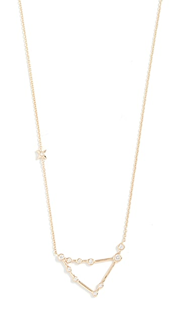 Lulu Frost 14k Gold Capricorn Necklace with White Diamonds