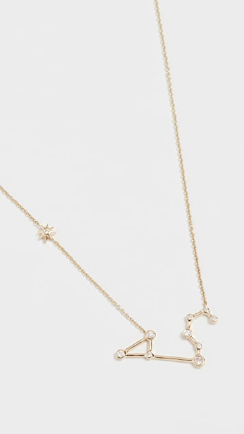 Lulu Frost 14k Gold Leo Necklace with White Diamonds