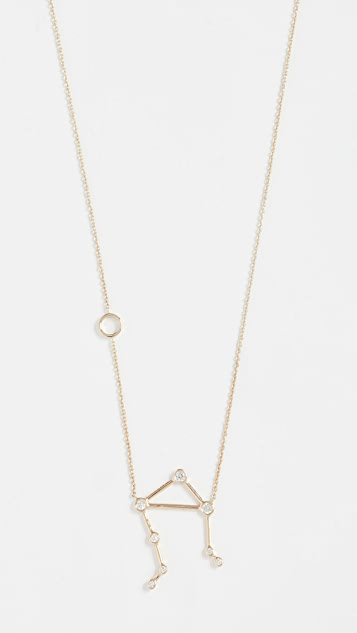 Lulu Frost 14k Gold Libra Necklace with White Diamonds