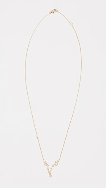Lulu Frost 14k Gold Pisces Necklace with White Diamonds