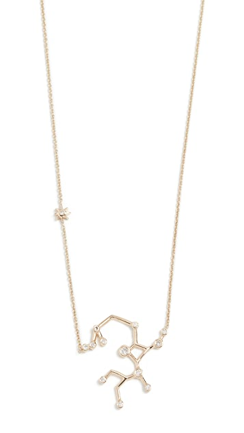 Lulu Frost 14k Gold Sagittarius Necklace with White Diamonds