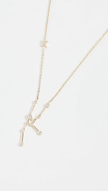 Lulu Frost 14k Gold Taurus Necklace with White Diamonds