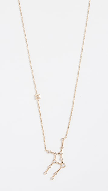 Lulu Frost 14k Gold Virgo Necklace with White Diamonds