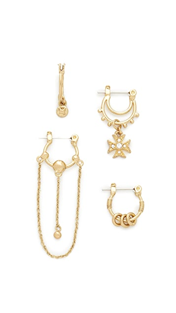 Luv Aj Heli Hoop Huggie Set Earrings