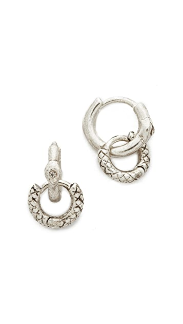 Luv Aj The Double Serpent Huggie Earrings