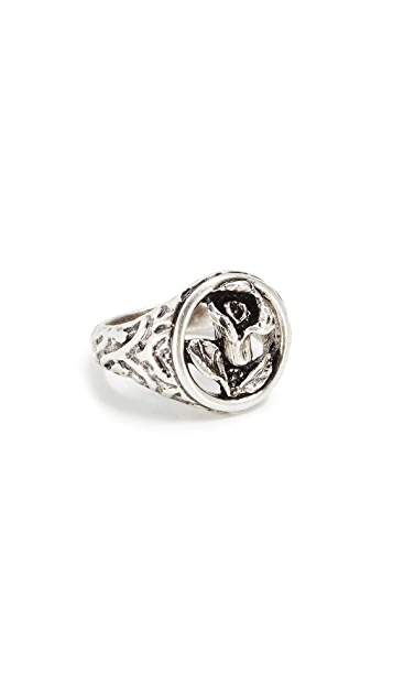Luv Aj Rosette Signet Ring
