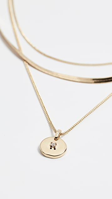 Luv Aj Crystal Disc Charm Necklace