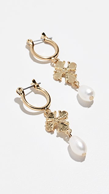 Luv Aj Nouveau Cross & Cultured Pearl Earrings