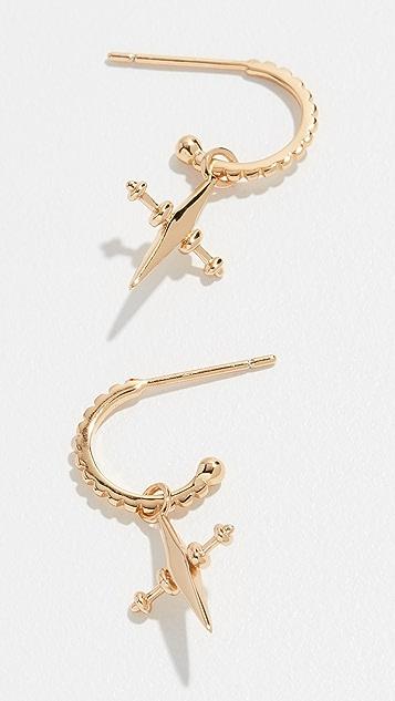 Luv Aj Mini Cross Hoop Earrings