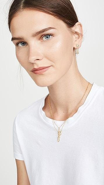 Luv Aj Heart Chain Stud Earrings