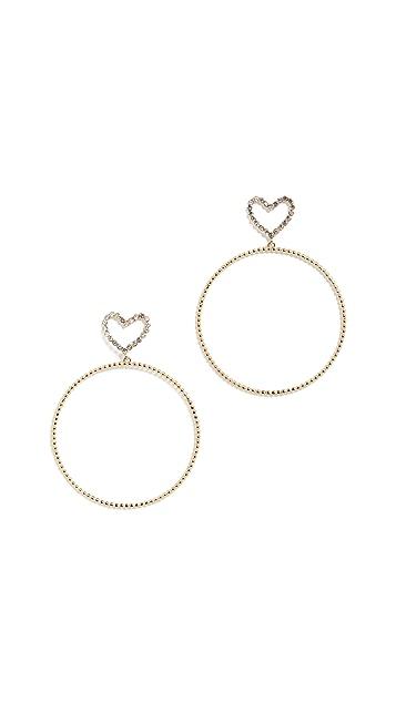 Luv Aj 圆点心形圈式耳环