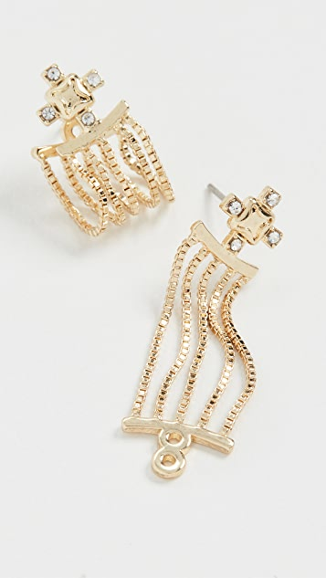 Luv Aj The Pave Stud Chain Hoops
