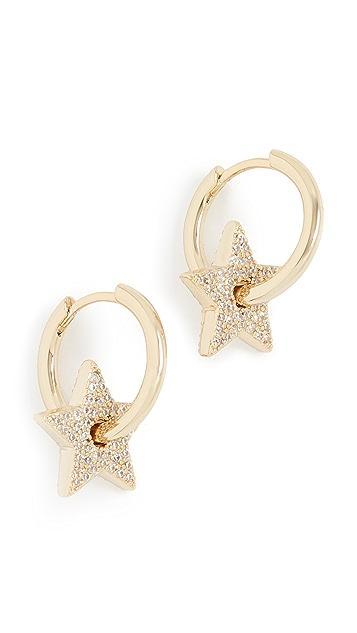 Luv Aj Pave Gold Star Charm Hoops