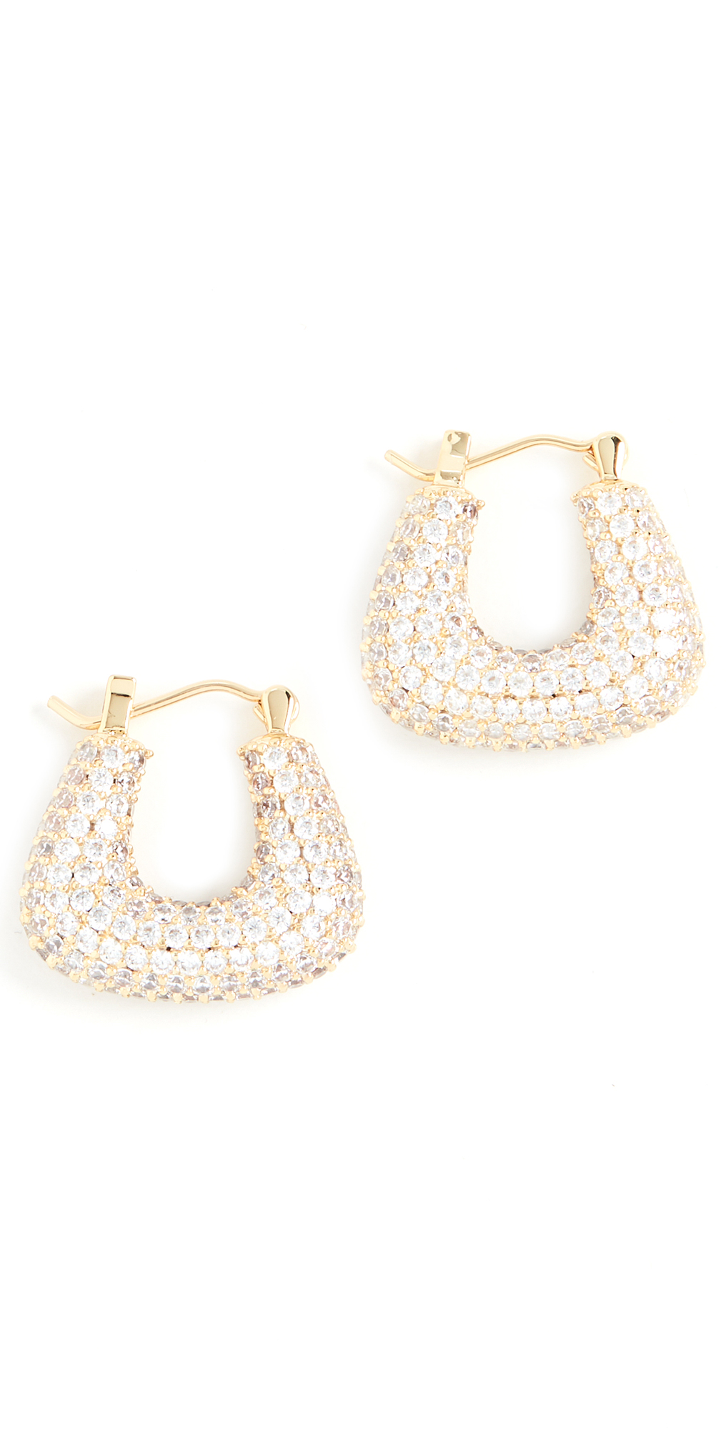 Pave Tia Gold Hoops