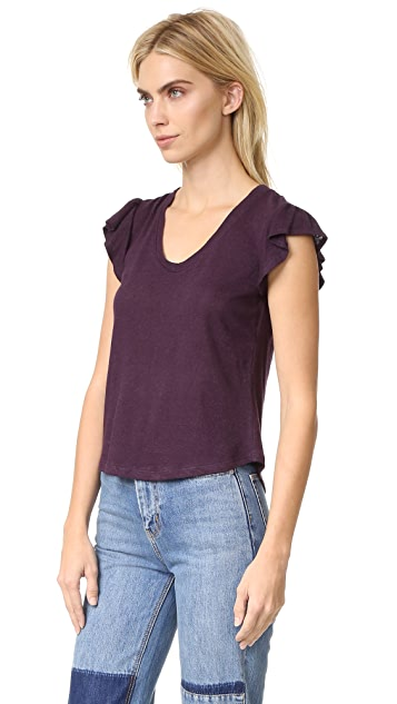 La Vie Rebecca Taylor Short Sleeve Washed Ruffle Tee