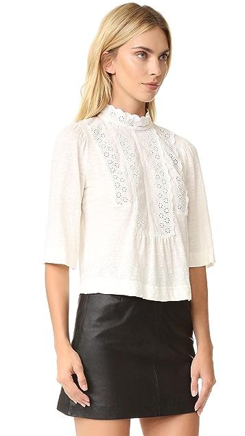 La Vie Rebecca Taylor Long Sleeve Linen and Lace Tee