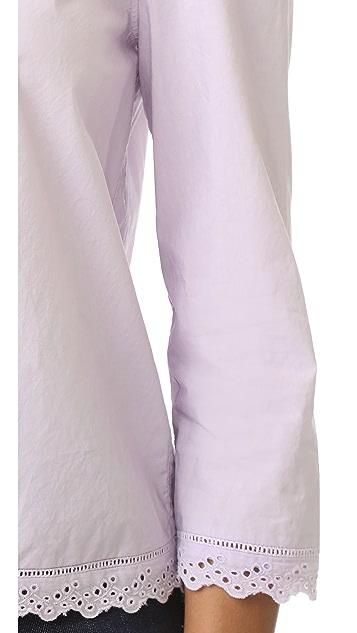 La Vie Rebecca Taylor Long Sleeve Pop Top with Eyelet Detail