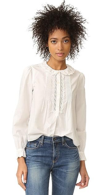 La Vie Rebecca Taylor Long Sleeve Pop Collar Top