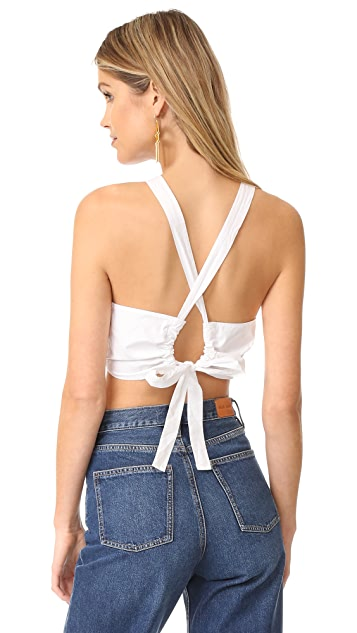 La Vie Rebecca Taylor Sleeveless Poplin Crop Top