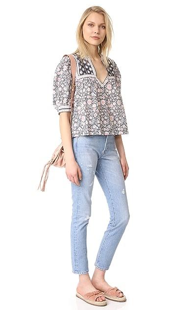 La Vie Rebecca Taylor Short Sleeve Zinnia Floral Top