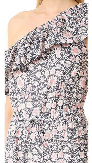 La Vie Rebecca Taylor One Shoulder Ruffle Floral Dress