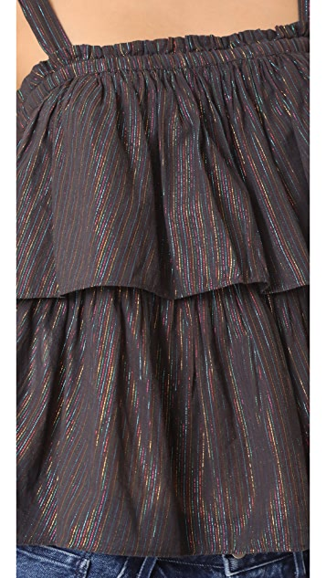 La Vie Rebecca Taylor Sleeveless Lurex Stripe Top