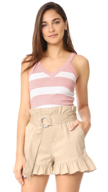 La Vie Rebecca Taylor Sleeveless Striped Rib Jersey Top