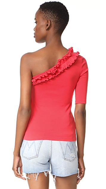 La Vie Rebecca Taylor One Shoulder Ribbed Jersey Top