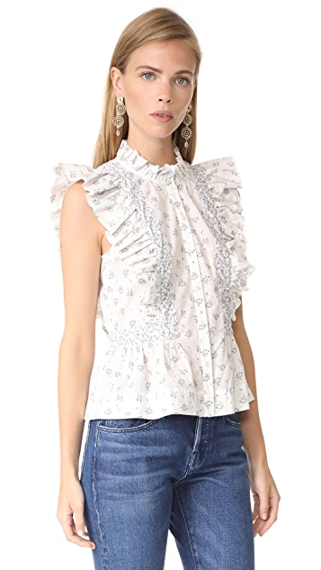 La Vie Rebecca Taylor Sleeveless Breeze Print Top